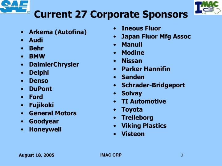 Current 27 corporate sponsors