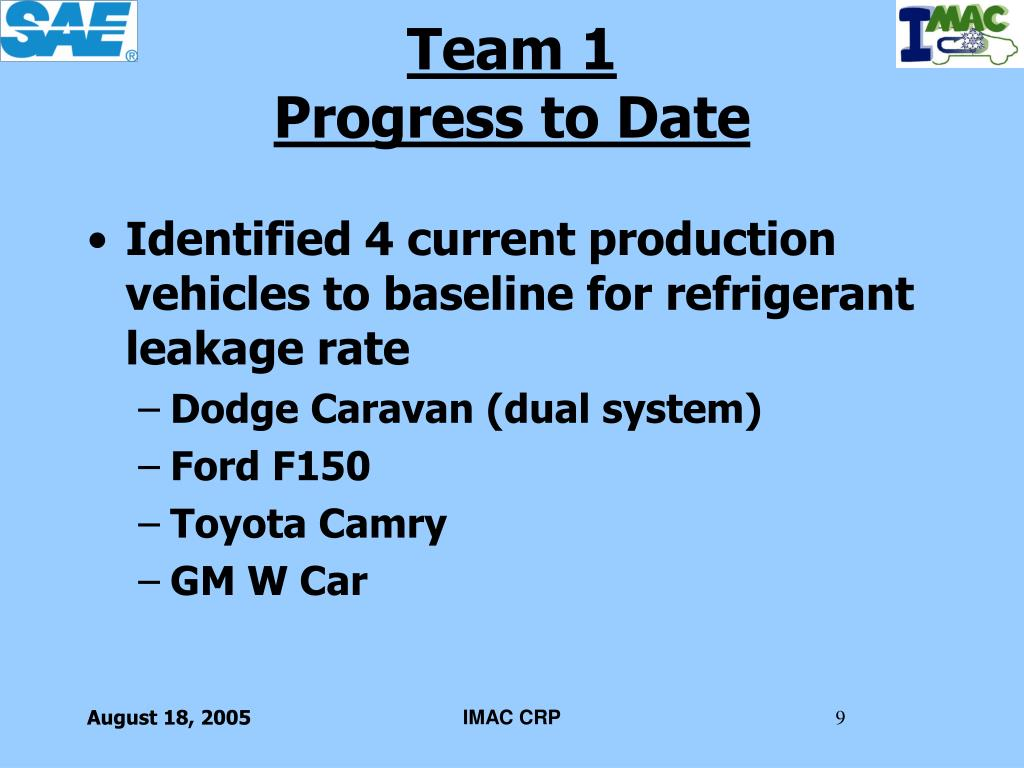 Identified 4 current production vehicles to baseline for refrigerant leakage rate