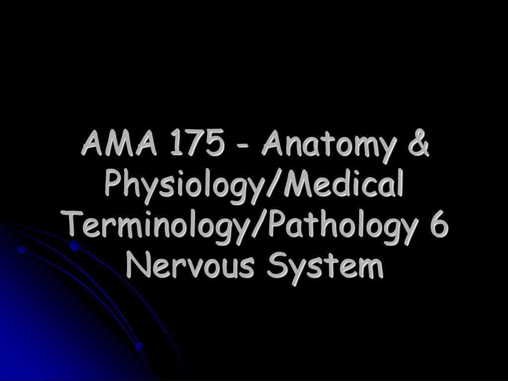 PPT - AMA 175 - Anatomy & Physiology/Medical Terminology/Pathology 6 ...