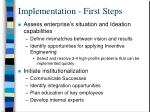 implementation first steps