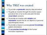 why triz was created