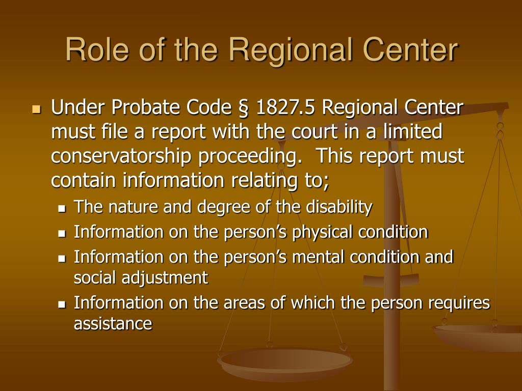 Role of the Regional Center