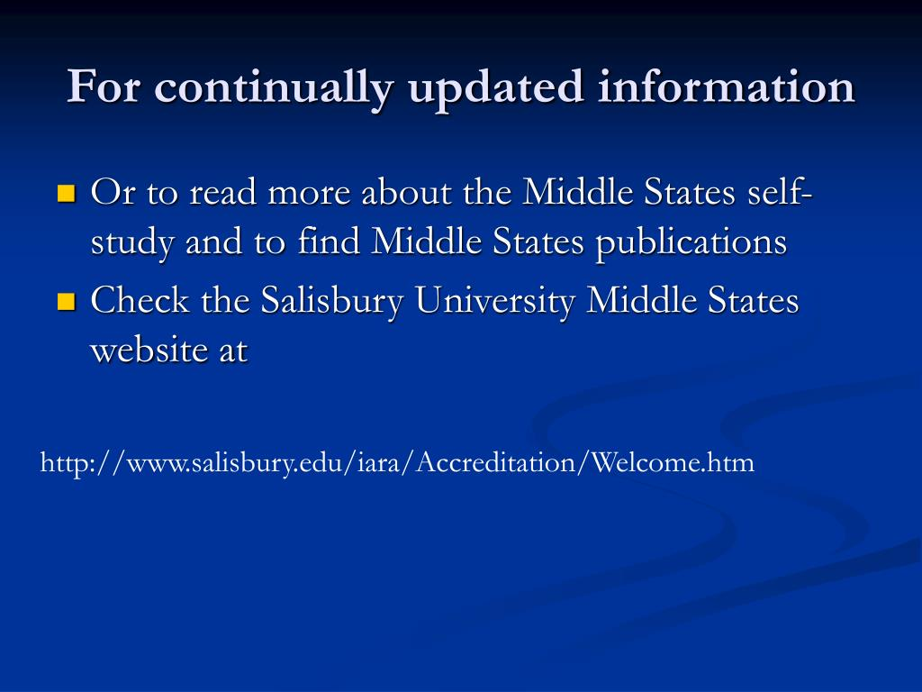 For continually updated information