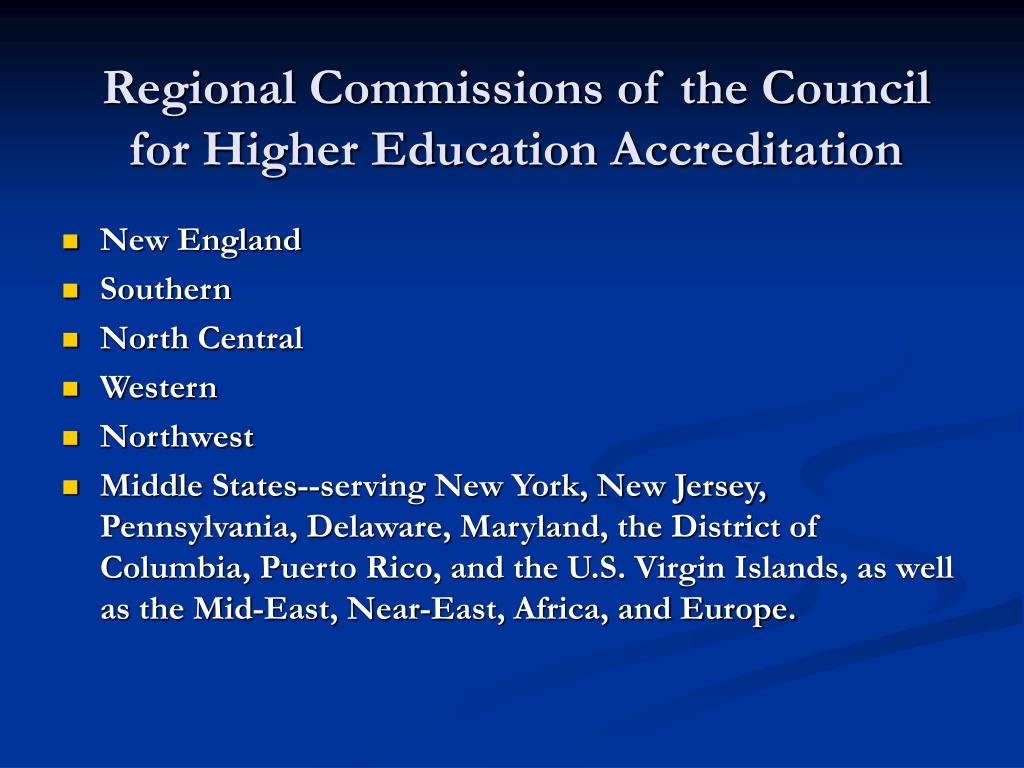 Regional Commissions of the Council for Higher Education Accreditation