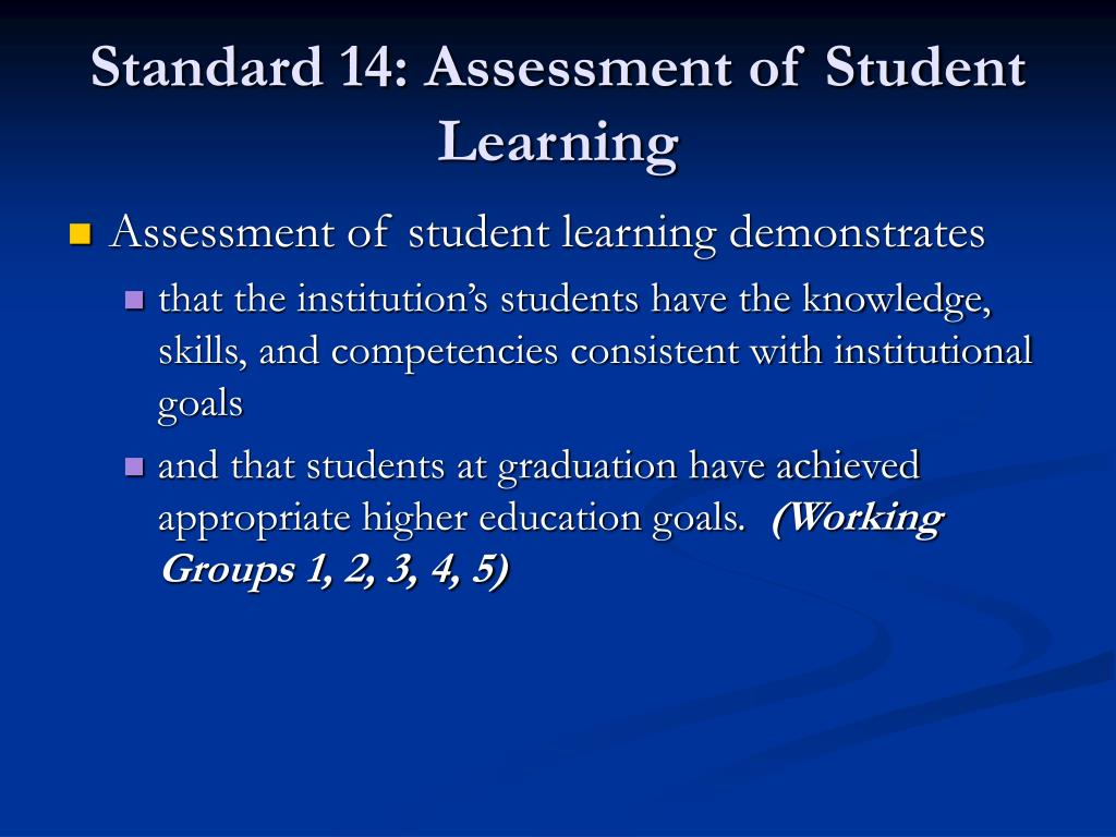 Standard 14: Assessment of Student Learning
