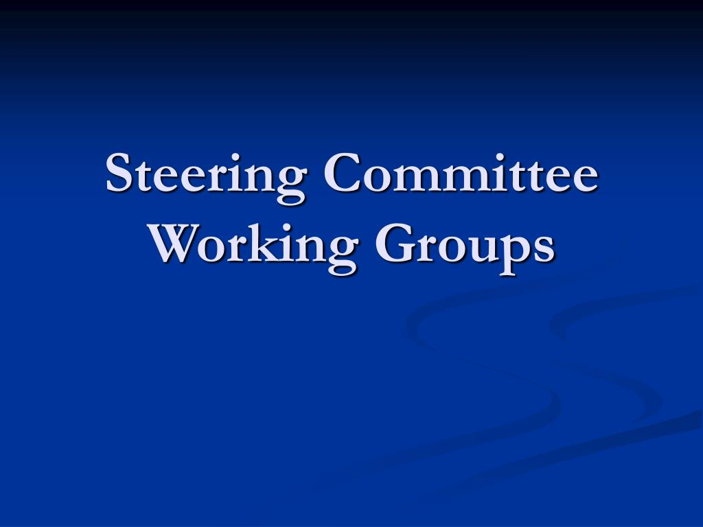 Steering Committee Working Groups