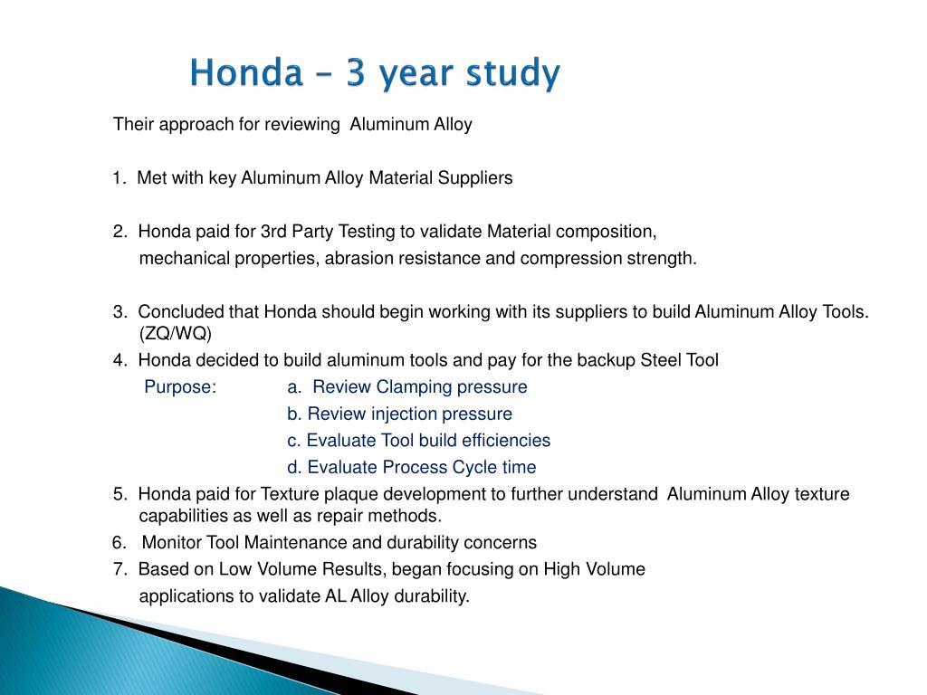Honda – 3 year study