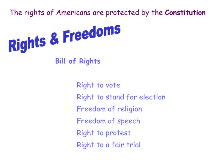 The rights of Americans are protected by the