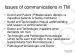 issues of communications in tm