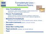 formaldehyde uses adhesives resins
