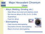 major hexavalent chromium uses