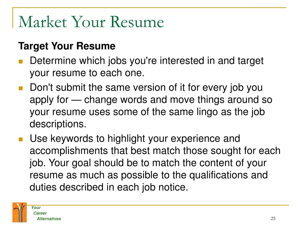 Market Your Resume