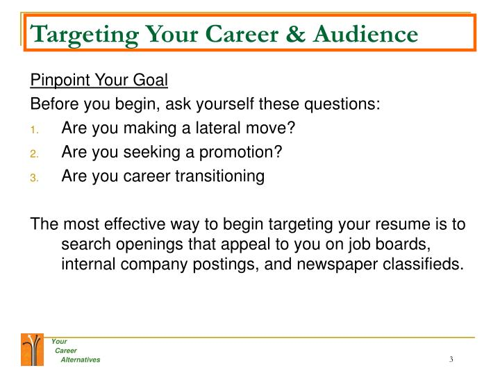 Targeting your career audience