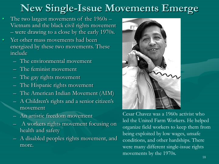 New Single-Issue Movements Emerge