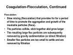 coagulation flocculation continued