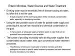 enteric microbes water sources and water treatment