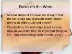 focus on the word2