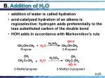 b addition of h 2 o