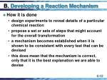 b developing a reaction mechanism