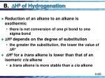 b h 0 of hydrogenation