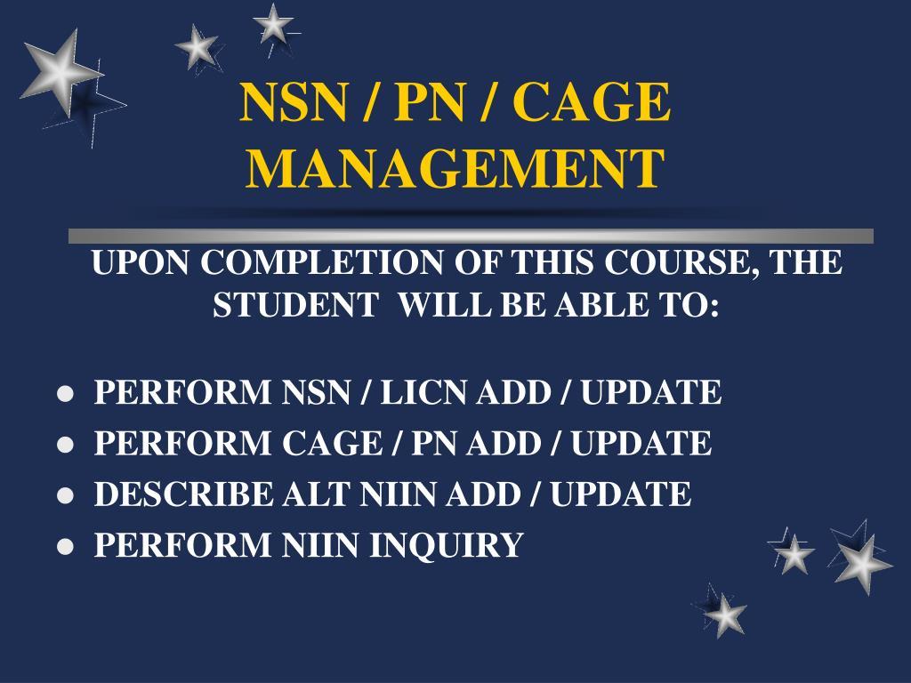 nsn pn cage management l.