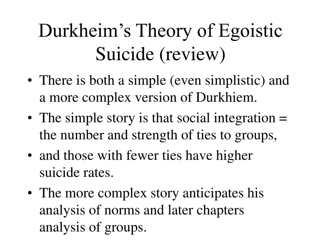 durkheim s theory of egoistic suicide review l.