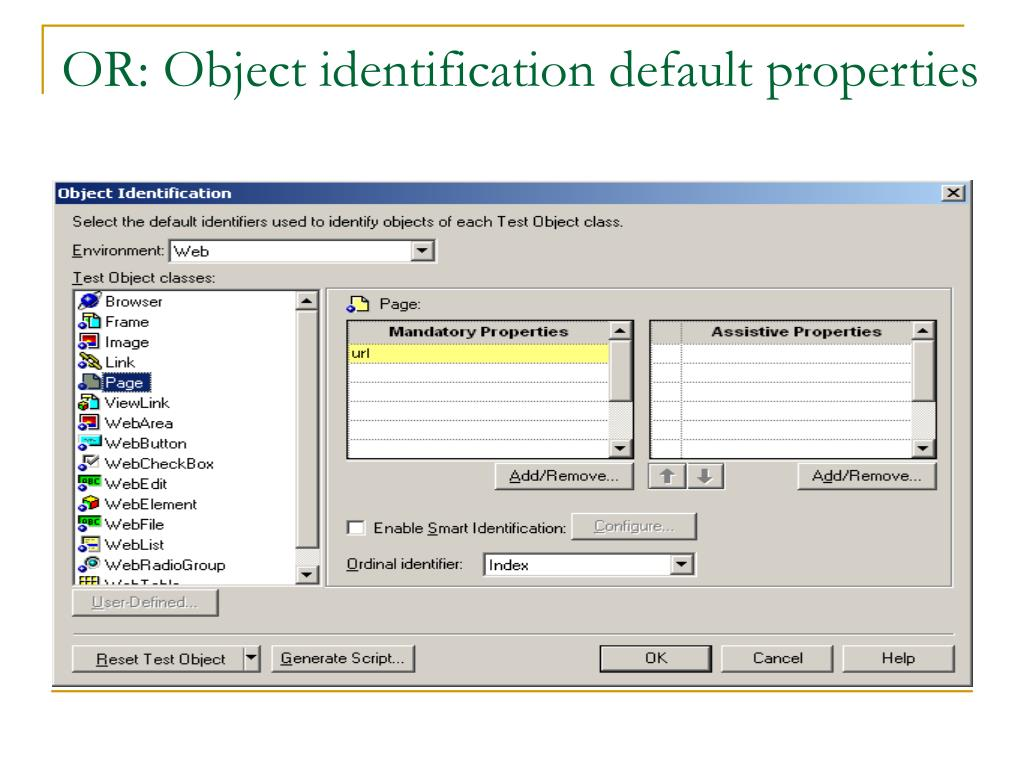 OR: Object identification default properties
