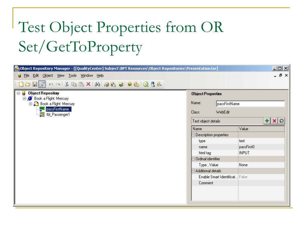 Test Object Properties from OR