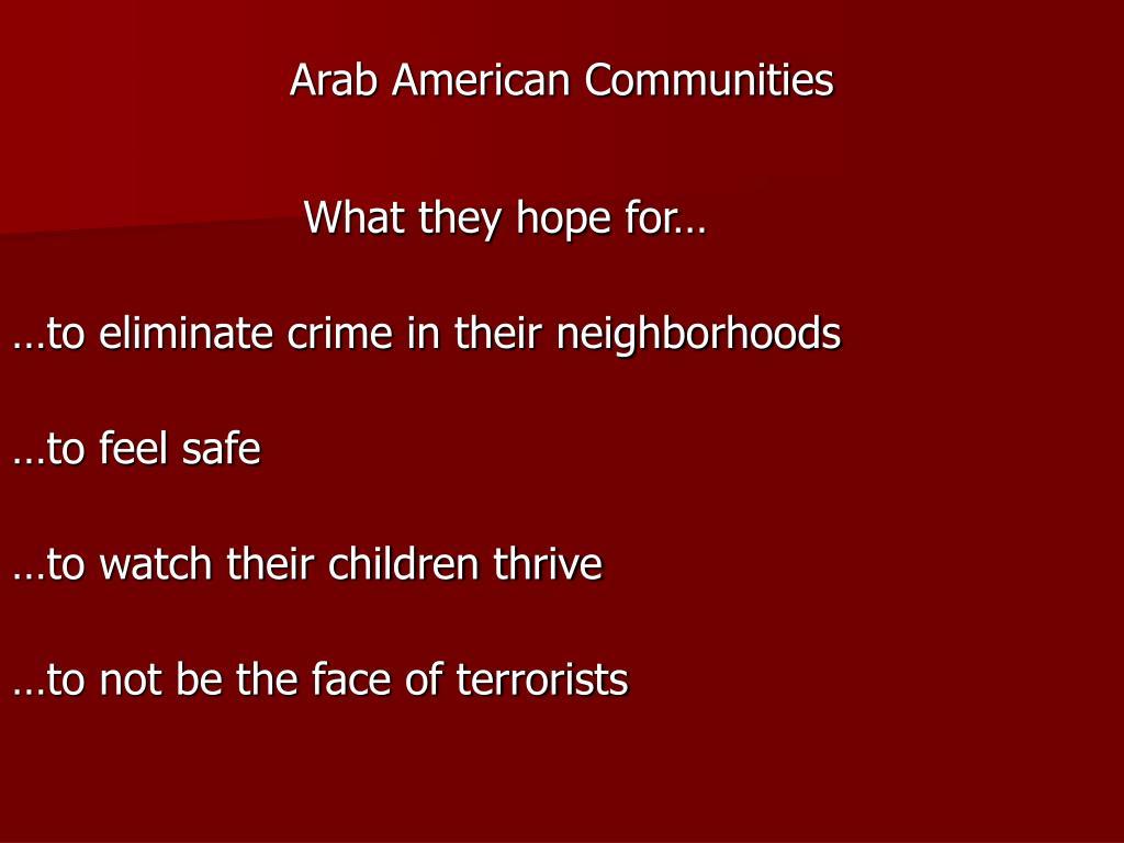 Arab American Communities