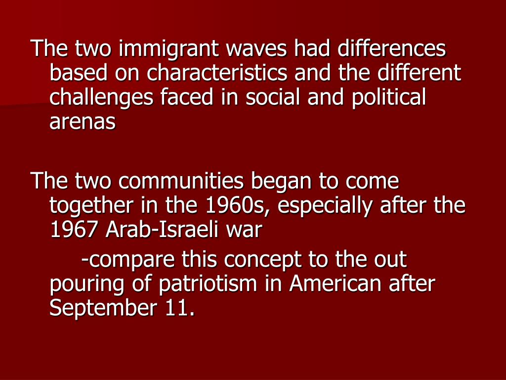 The two immigrant waves had differences based on characteristics and the different challenges faced in social and political arenas