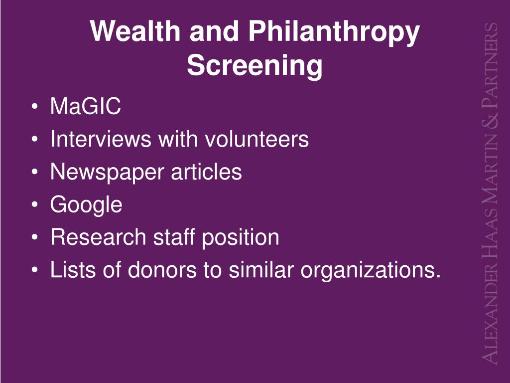 Wealth and Philanthropy Screening