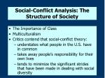 social conflict analysis the structure of society