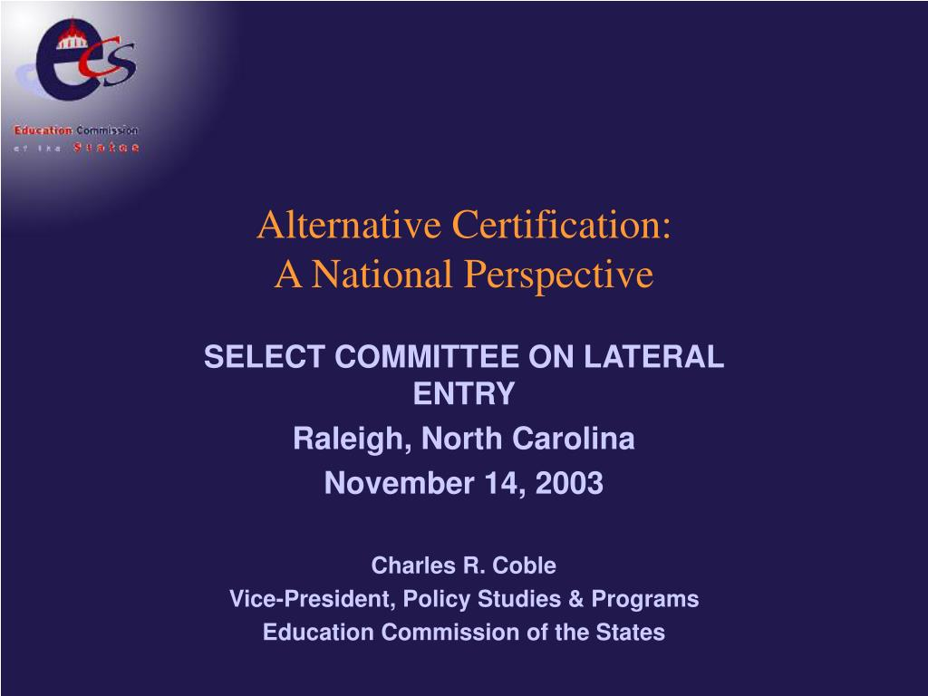 alternative certification a national perspective l.