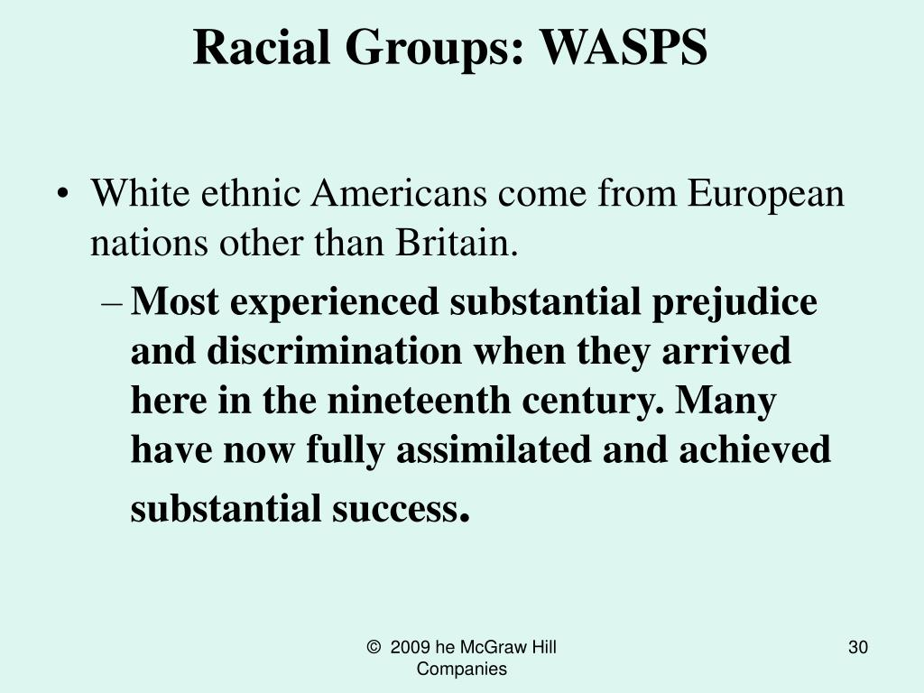 Racial Groups: WASPS