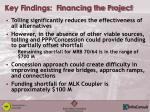 key findings financing the project
