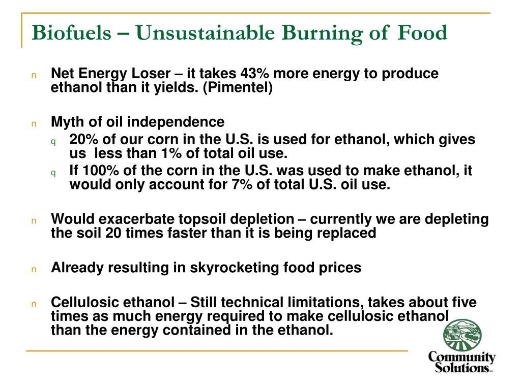 Biofuels – Unsustainable Burning of Food