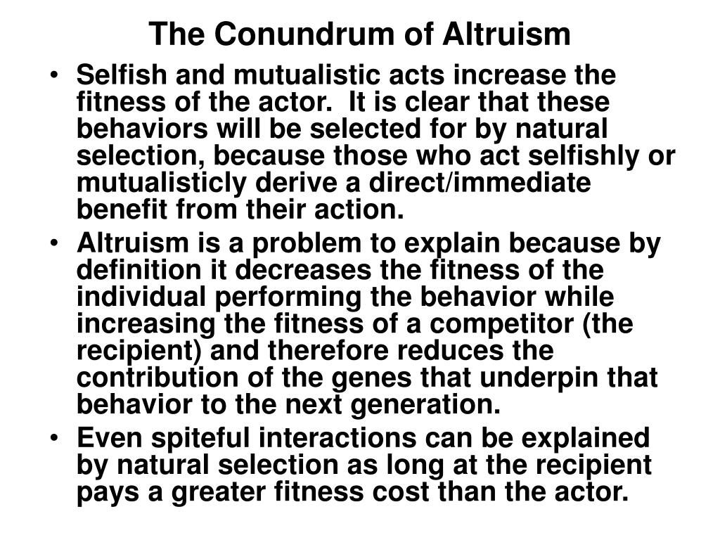 The Conundrum of Altruism