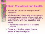 ethnic variations and health