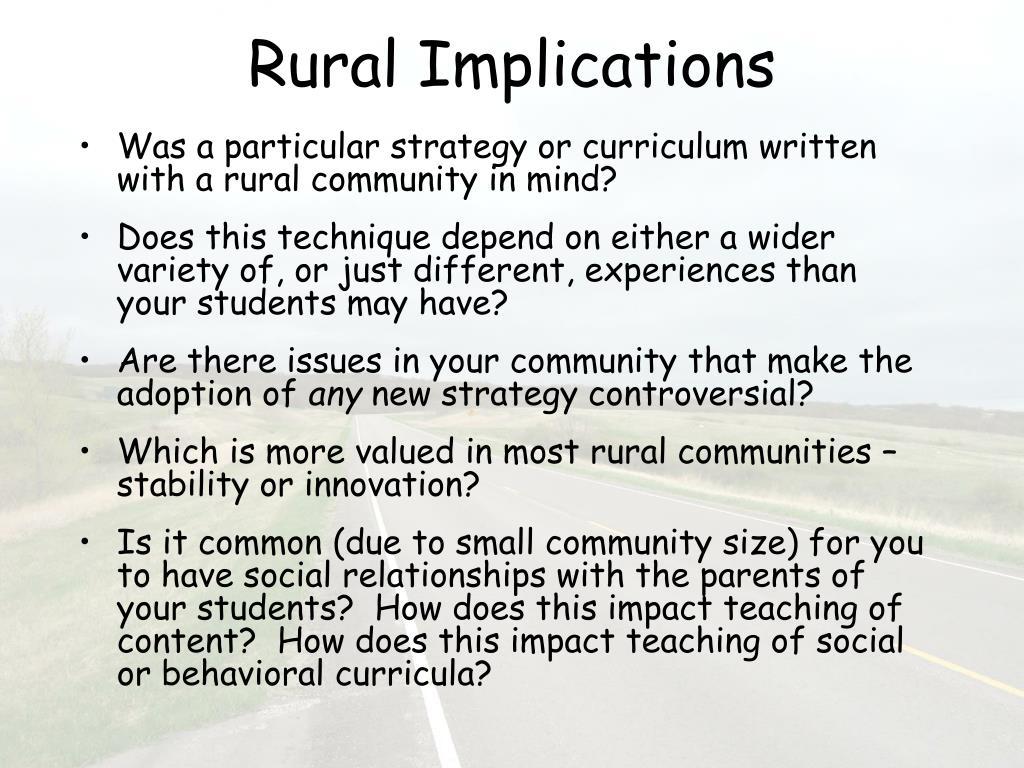 Rural Implications