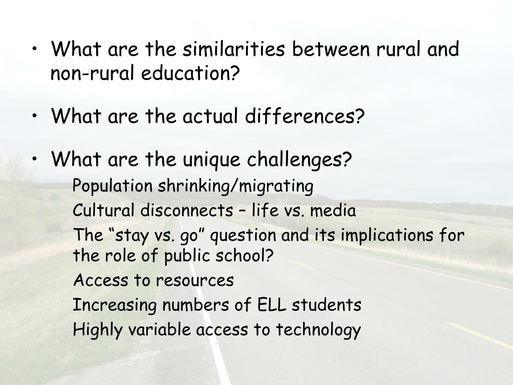 What are the similarities between rural and non-rural education?