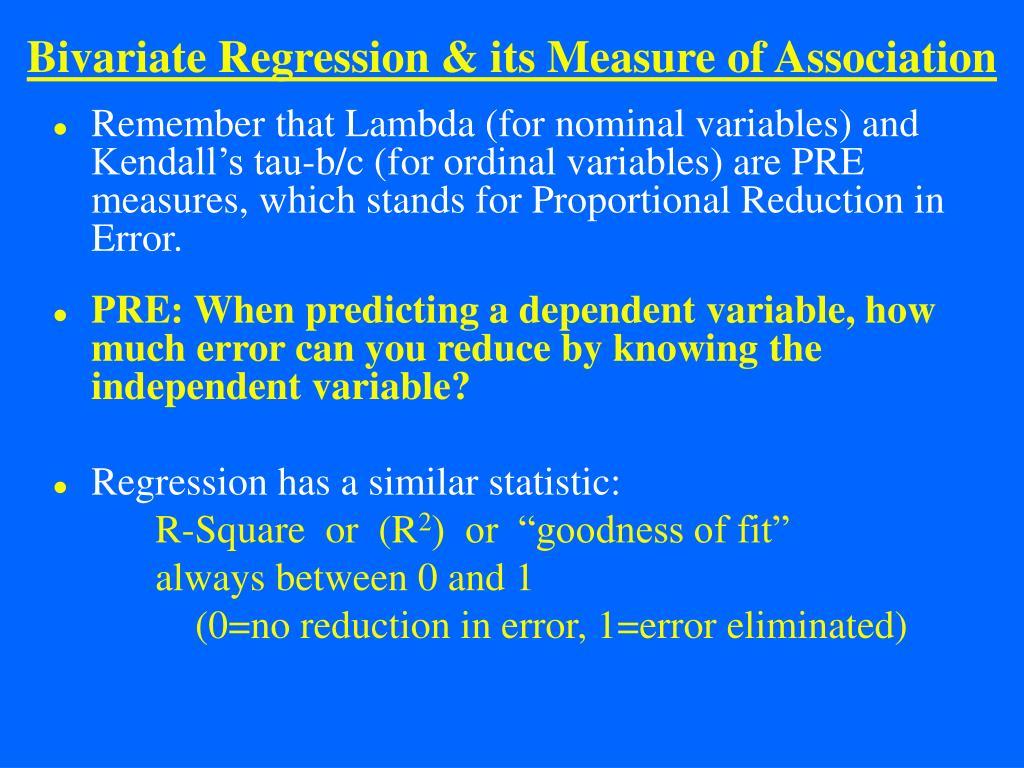 Bivariate Regression & its Measure of Association