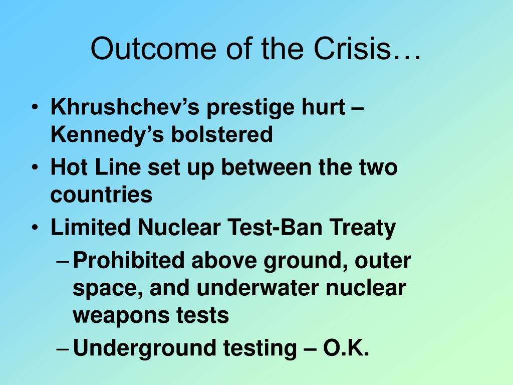 Outcome of the Crisis…