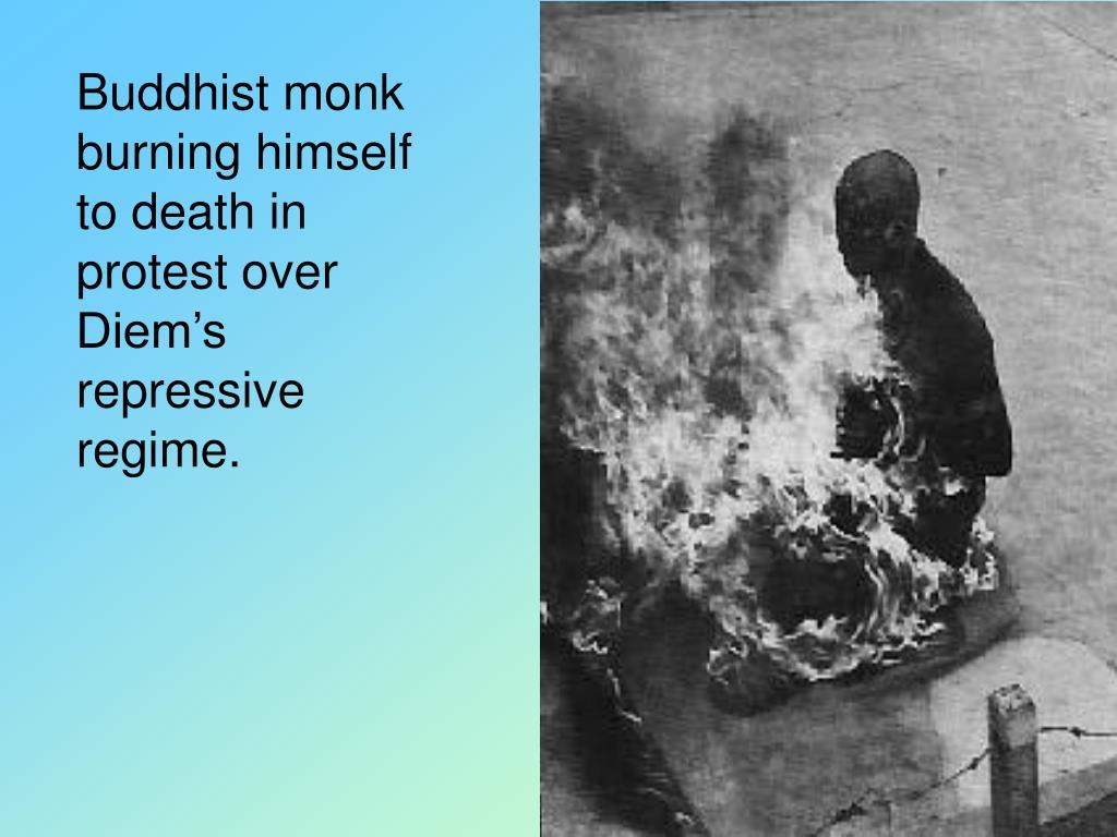Buddhist monk burning himself to death in protest over Diem's repressive regime.