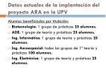 datos actuales de la implantaci n del proyecto ara en la upv