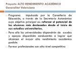 proyecto alto rendimiento acad mico generalitat valenciana