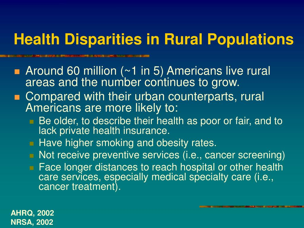 Health Disparities in Rural Populations