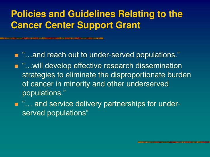 Policies and guidelines relating to the cancer center support grant