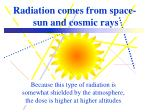 radiation comes from space sun and cosmic rays