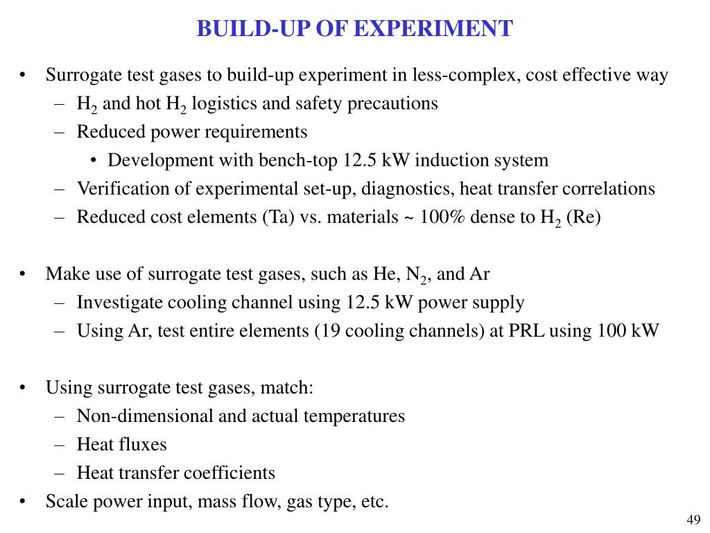 BUILD-UP OF EXPERIMENT