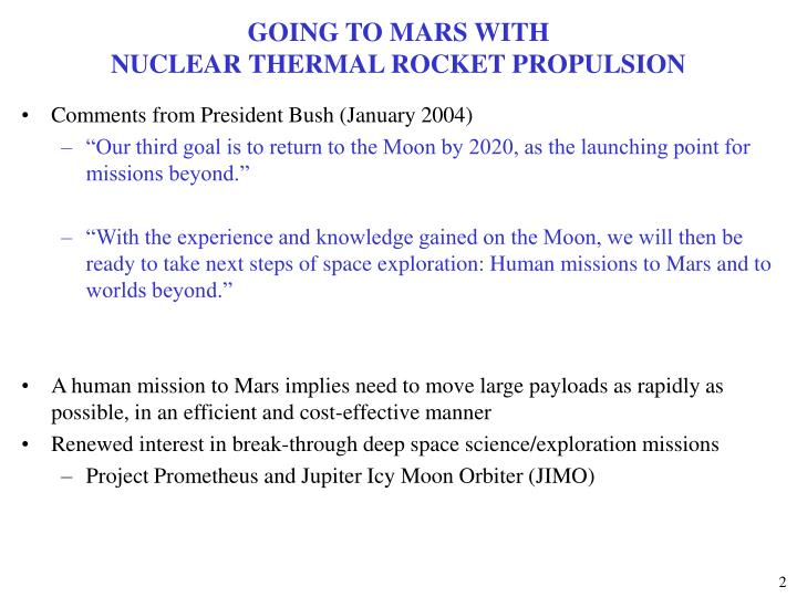 Going to mars with nuclear thermal rocket propulsion